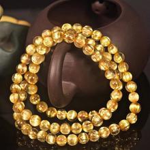6mm למעלה ברזיל טבעי זהב Rutilated קוורץ קריסטל ברור עגול חרוז למתוח שלוש 3 הקפות נשים צמיד זרוק משלוח AAAAA