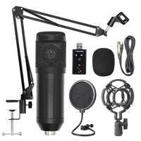 Bm800 suspensión profesional micrófono Kit estudio transmisión en directo grabación condensador micrófono Set (negro)