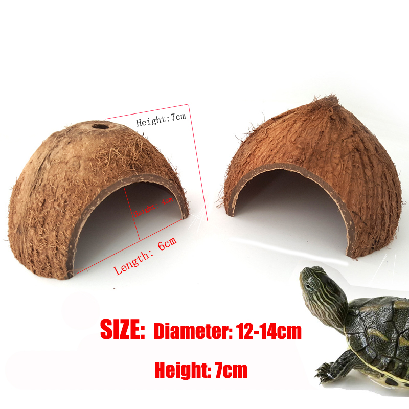 Reptile Hiding Cave Nest Natural Coconut Shell Creeping Small Pet House Shell Reptile Shelter Lizard Turtle Reptile Hide Habitat