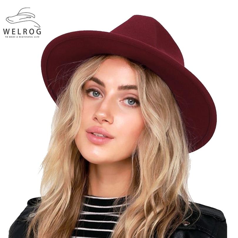 WELROG New Woolen Wide Brim Hats British Men's And Women's Fashion Solid Top Hat Autumn Winter Smooth Unisex Fedoras