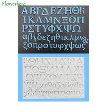 Letra do molde do alfabeto grego modelagem molde de bolo de silicone toda a letra em minúsculas e maiúsculas, bem como vários símbolos