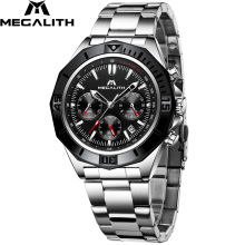 Relogio Masculino MEGALITH Watches Men Steel Sport Waterproof Watch For Men Luminous Chronograph Watches Top Brand Luxury Watch luxury leather gift box pacific angel shark sport watch 24hrs chronograph luminous steel water resistant men watches sh315 319