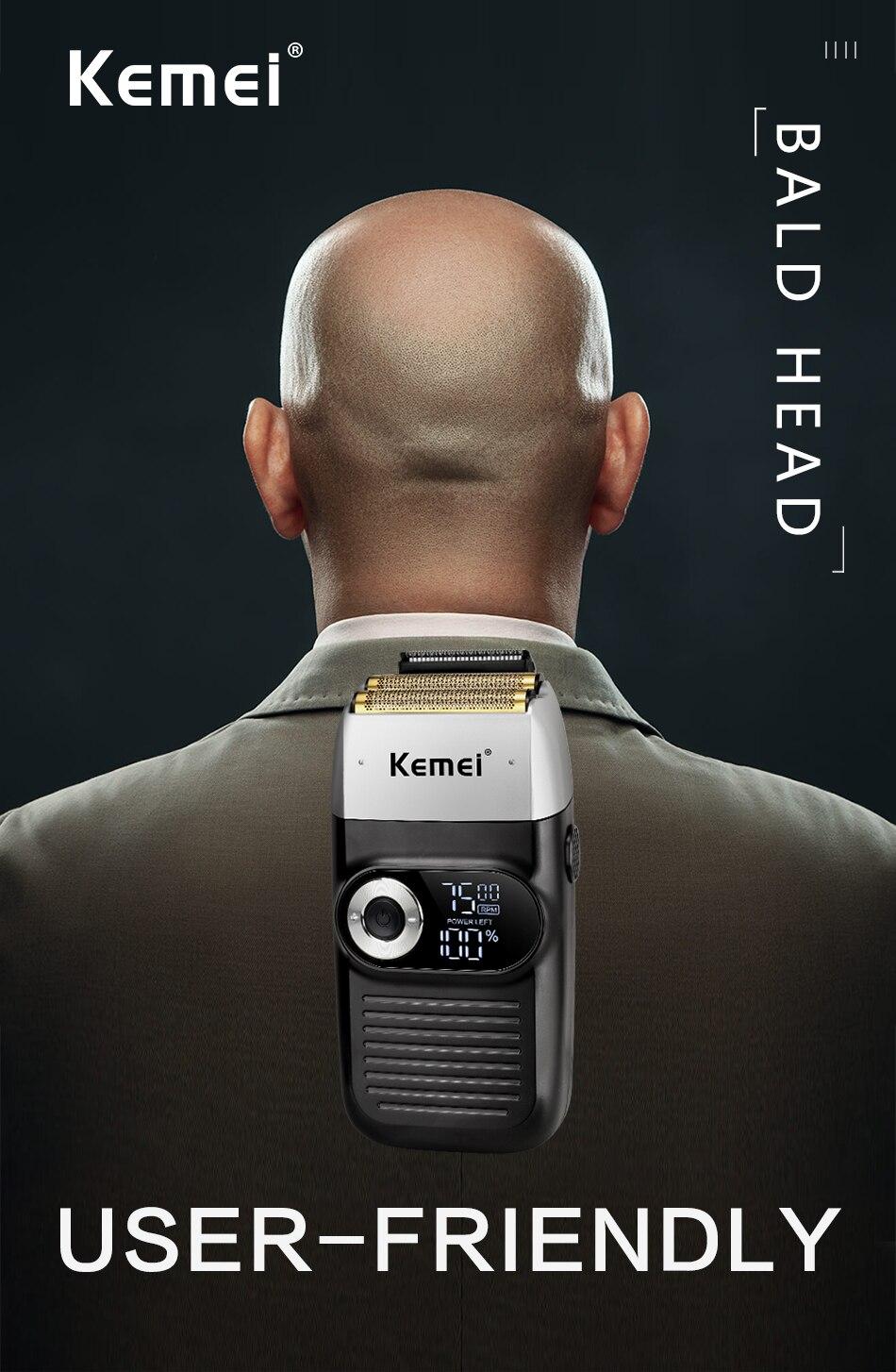 Kemei 2 em 1 barbeador elétrico para