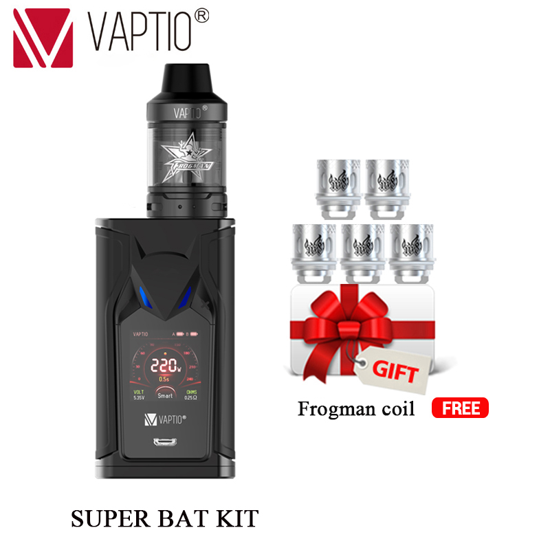 GIFT 5pcs coils VAPTIO SUPER BAT 220W Vape kit electronic cigarettes 220W Box MOD 2.0ml tank 510 thread Vape Mod No battery