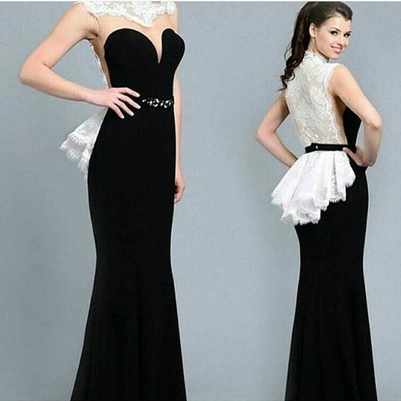 High Neck Sleeveless White Lace Black Evening Prom Gown 2018 With Sashes Sexy Off The Shoulder Mother Of The Bride Dresses