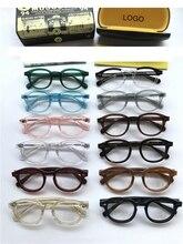 Marka tasarım Johnny Depp gözlük erkekler kadınlar optik gözlük çerçevesi bilgisayar şeffaf gözlük asetat Vintage kutusu Q013