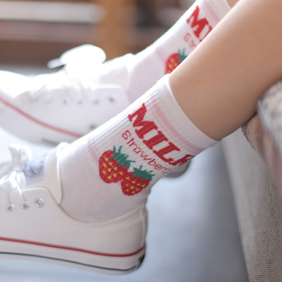 Kawaii Jacquard Fruit Strawberry Milk Pinky White Women Socks Japanese Harajuku Funny Socks  funny socks  pink  socks women