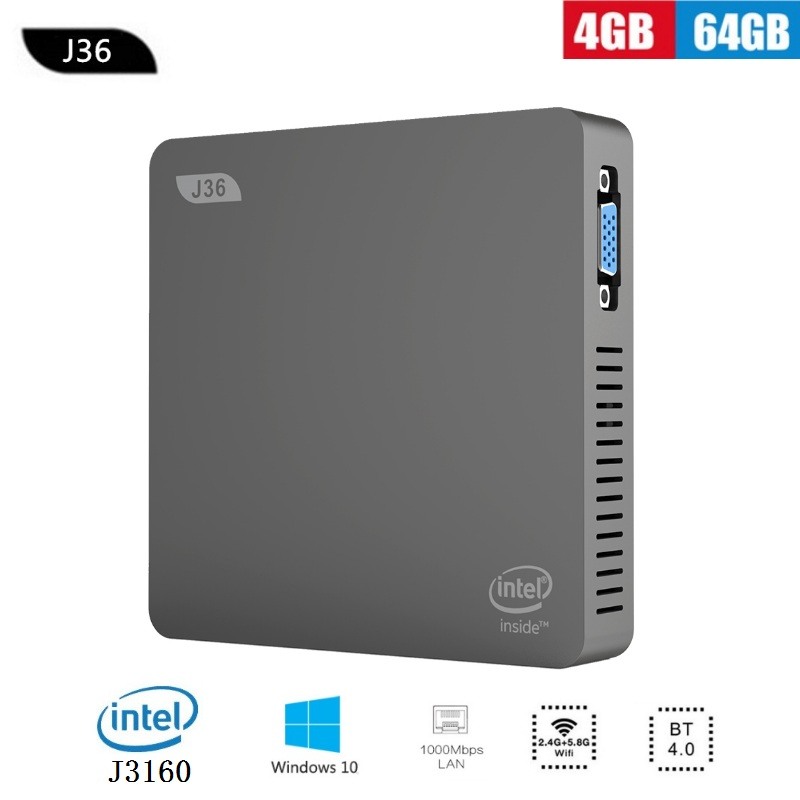 J36-V Mini PC Windows 10 Home Desktop Computer Intel HD Graphics 4GB 64GB 2.5 Inch HDD 2.4G 5.8G WiFi BT4.0 Minipc HDMI VGA