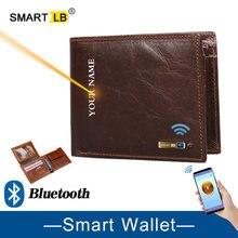 Carteira inteligente bluetooth crazy horse couro curto titular do cartão de crédito masculino bolsa da moeda couro genuíno masculino carteiras dos homens livre gravura