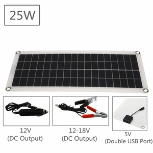 Image 2 - 12V 25W Dual USB Solar Panel with Car Charger Output 10/20/30/40/50A USB Solar Charger Controller for Outdoor LED Light Camping
