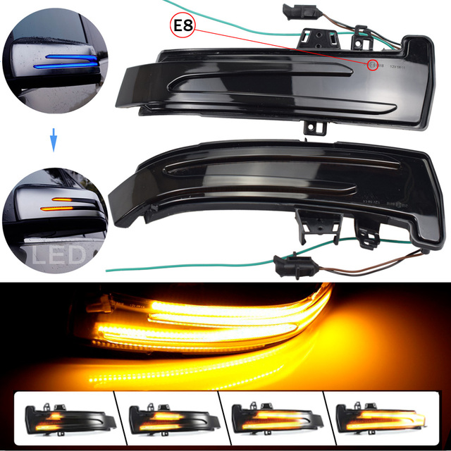 2pcs For Mercedes Benz A Class W176 2013 2017 A180 A200 A250, A45 LED Blinker Dynamic Turn Signal Light Side Mirror Repeater