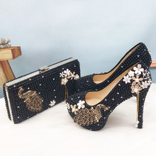 Female Shoes Purse Pearl Peacock High-Pumps Party-Dress Black Fashion Womens Woman And