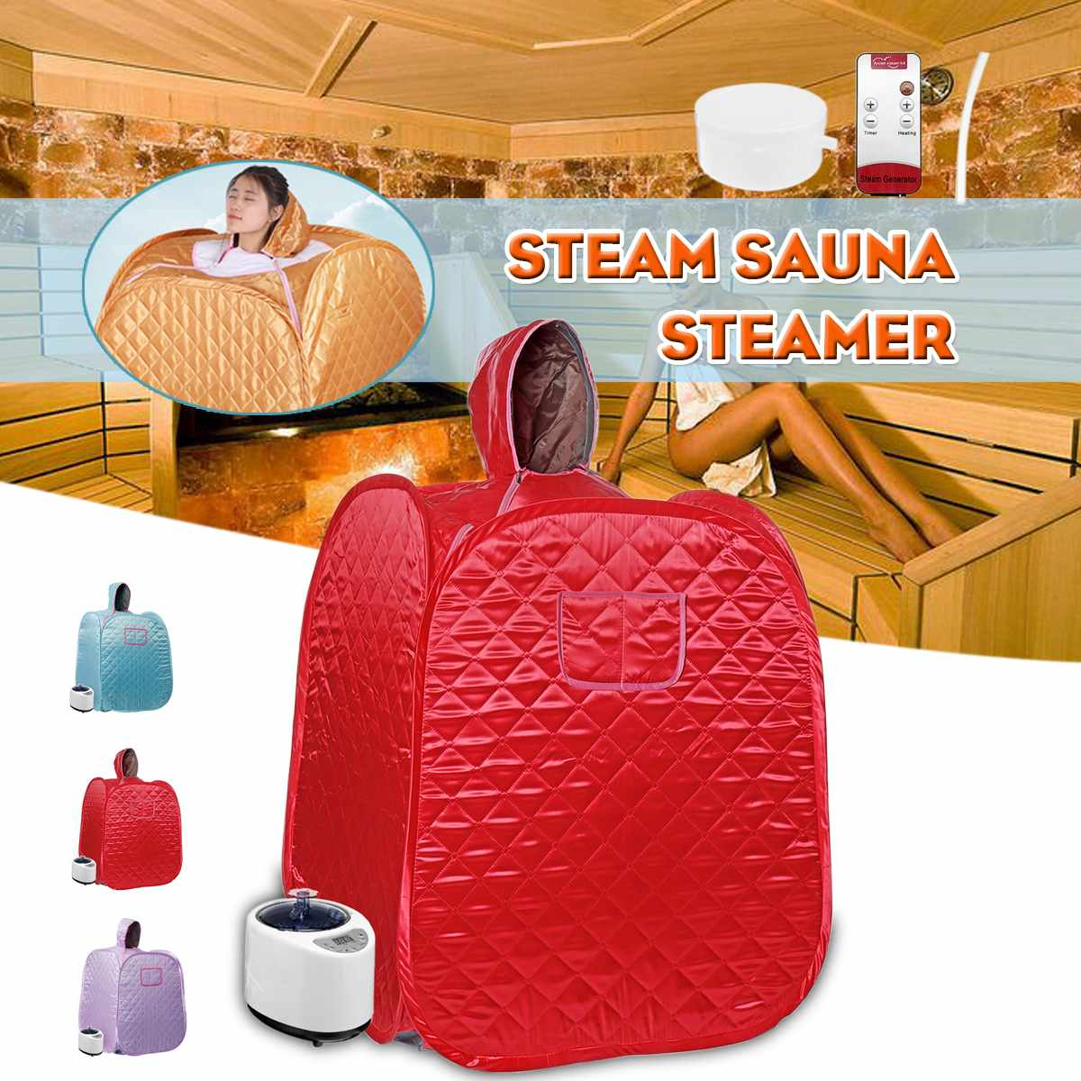 80X80X100cm 3 Layers Household Sauna Steaming Room for Single 9 Levels Adjustable Collapsible Perspire Sauna Room