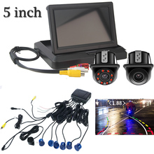 Video Car Parking 6 Sensor Auto Parktronic Buzzer con movimento Reverse Backup Camera Night Vision Rearview system Display da 5 pollici