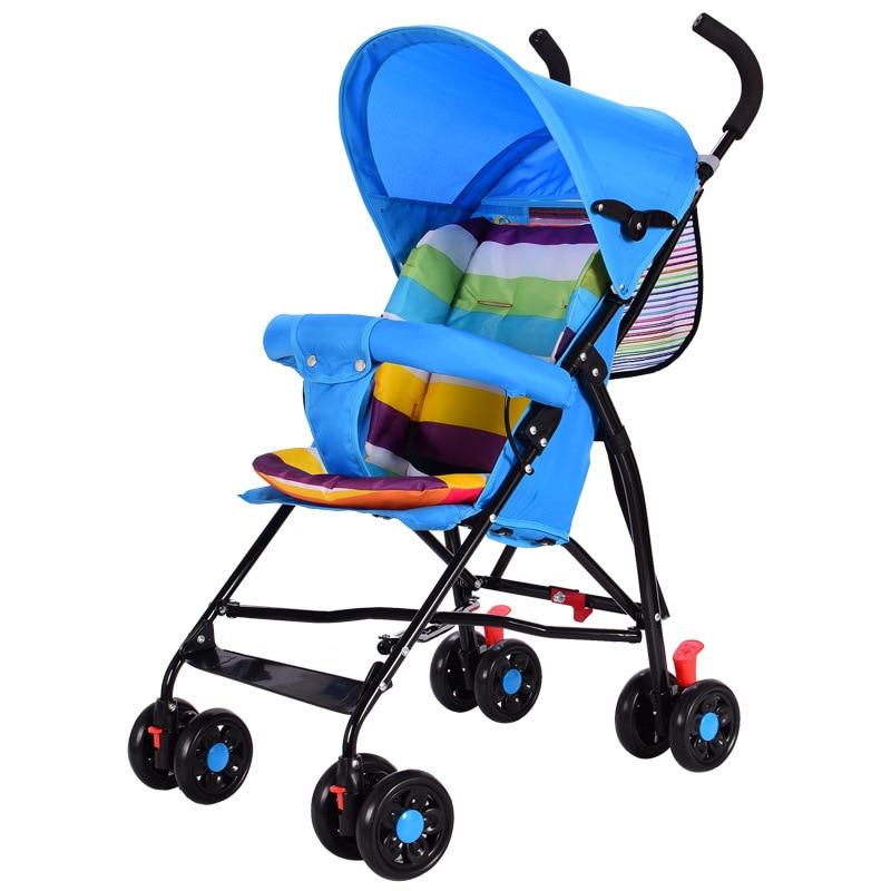 Portable Umbrella Baby Stroller Trolley Car Quick Folding Key Shock Resistant Mini Lightweight Cotton Cushion Pram