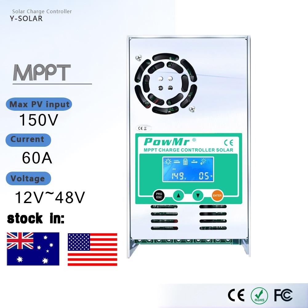 Powmr mppt 60a 50a 40a 30a lcd controlador de carga solar 12 v 24 v 36 v 48 v regulador de carga da bateria do painel solar automático para o máximo 190 v
