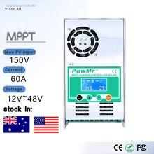 Powmr mppt 60A 50A 40A 30A lcd ソーラー充電コントローラ 12 v 24 v 36 v 48 24v オート太陽パネルバッテリー充電レギュレータ最大 190 v
