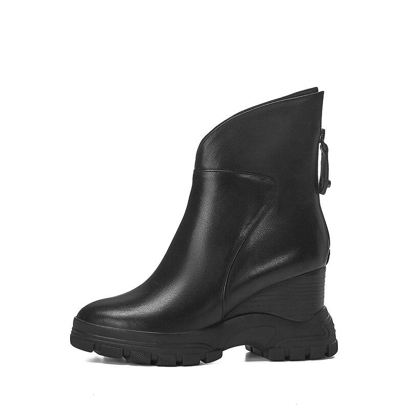 WETKISS Kuh Leder Stiefeletten Frauen Keile Booties Plattform Schuhe Weibliche Runde Kappe Keile Zip Schuhe Damen Winter 2020 Neue - 2
