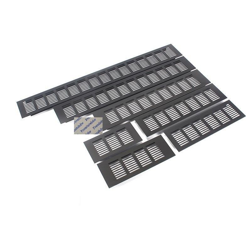 5Pcs 80mm Width Rectangle Matte Black Aluminum Alloy Air Vent Ventilator Grille Louvre Cover Closet Shoe Cabinet Air Conditioner
