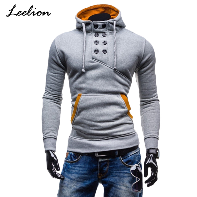 IceLion 2019 Spring Winter Hoodies Sweatshirt Men Cotton Sportswear Slim Button Pullover Male Hip Hop Solid Tracksuit Streetwear