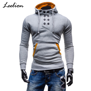 IceLion 2019 Spring Winter Hoodies Sweatshirt Men Cotton Sportswear Slim Button Pullover Male Hip Hop Solid Tracksuit Streetwear