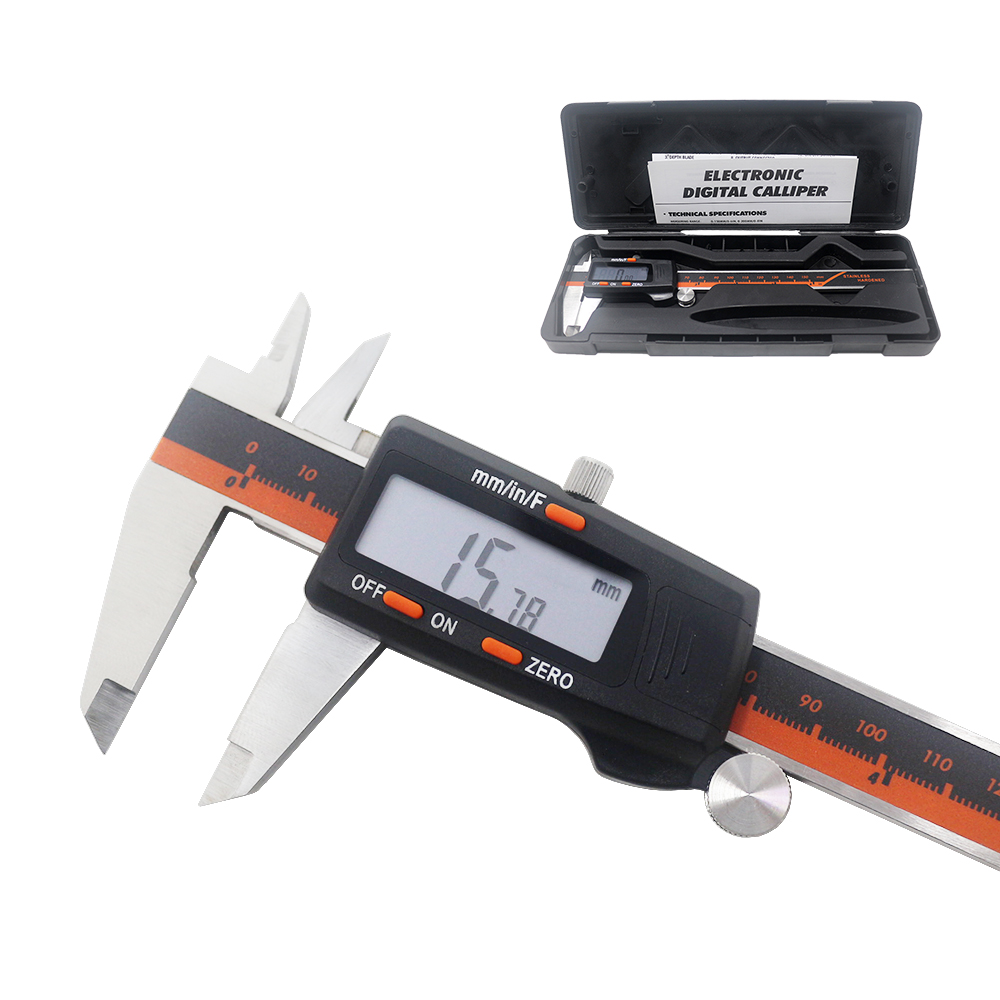 Verificador eletrônico da altura da profundidade do micrômetro do lcd de digitas vernier da fração de aço inoxidável 6-Polegada 150mm da pinça de ketotek/mm/Polegada