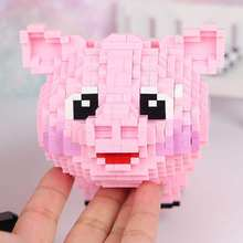 1547pcs Anime Animal Pet Pink Cute Pig Building Block Kits DIY Diamond Mini Brick 3D Model Assembly Toy Boy Children Gifts(China)
