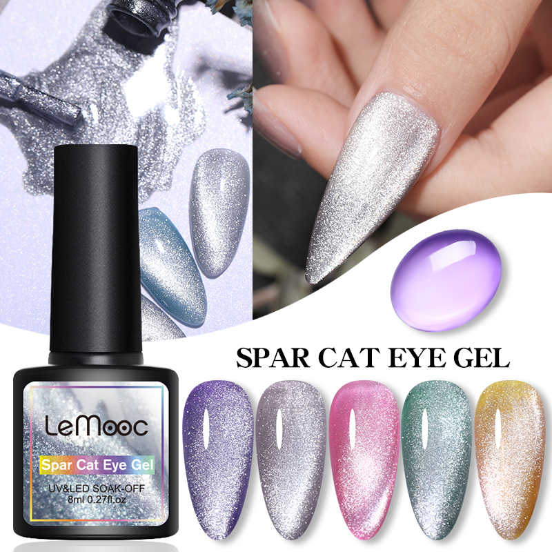 LEMOOC 8ML Spar Mata Kucing Hybrid Pernis Gel Nail Polish Set untuk Manikur Bunglon Warna Jelly Gel UV Dasar top Coat