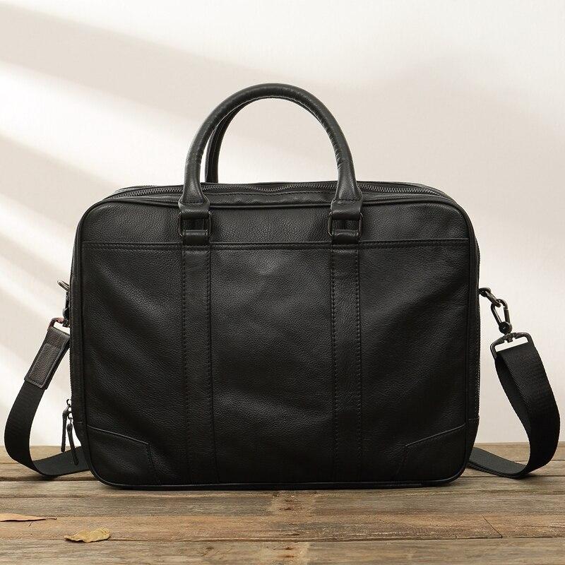 New Men's Bag Handbag Business Leather Laptop Bag Shoulder Messenger Bag Men Soft Black Leather Briefcase Male