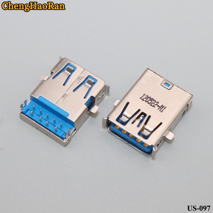 ChengHaoRan 2pcs Is Suitable For Some Models Notebook USB 3.0 Interface Harpoon Foot 90 Degrees Socket Hole 9 Pin Tongue Under