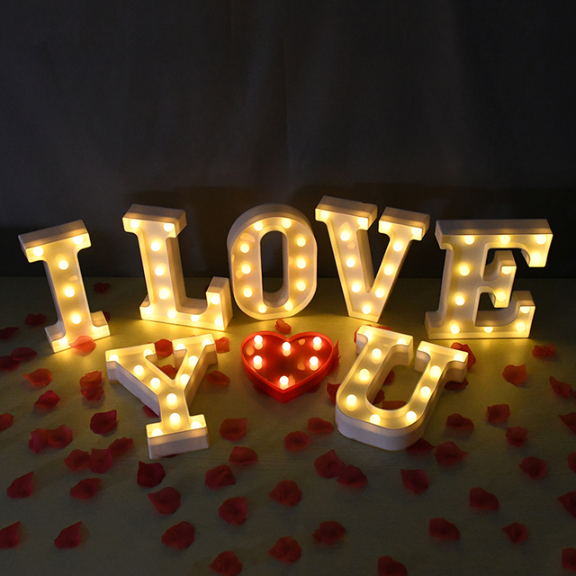 LED English Letter Night Light Alphabet Battery Marquee Sign Number Lamp Indoor Home Culb DIY Wedding Birthday Party Decoration 4