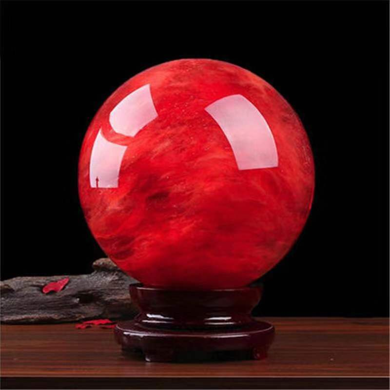 Vermelho bola de fundição quartzo cristais minerais