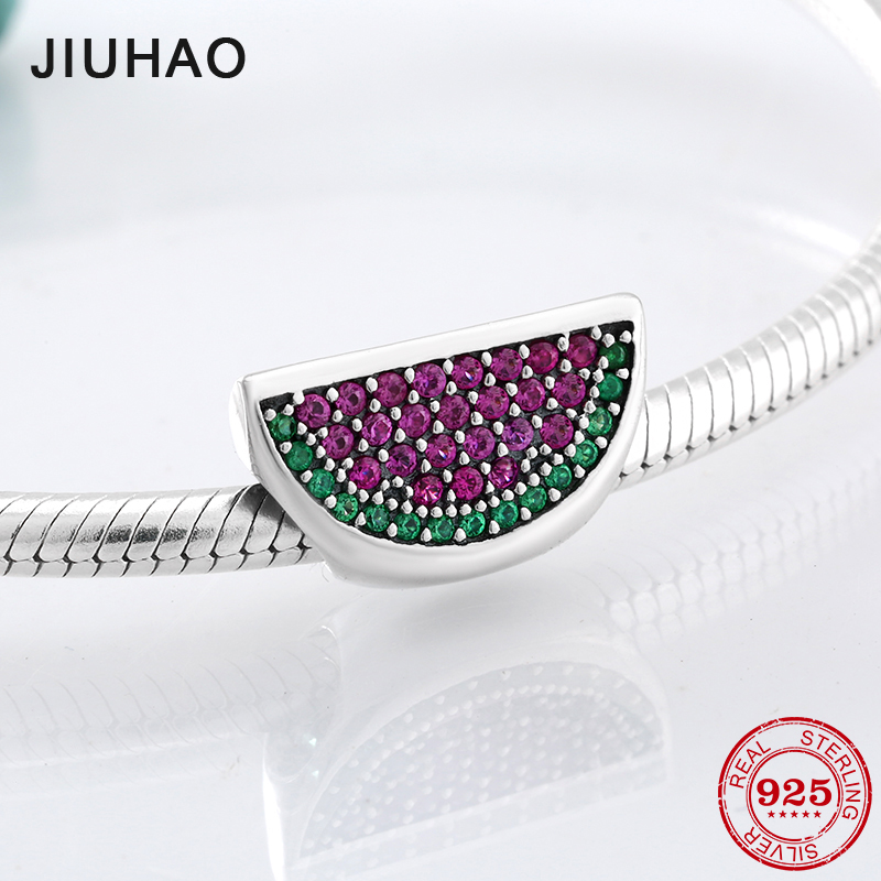 925 Sterling Silver hot pink and green CZ Half a watermelon beads Fit Original Pandora Charm Bracelet Jewelry making(China)