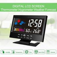1 Pc nowa gorąca sprzedaż zegar pogoda cyfrowy budzik led zegar drzemka kalendarz termometr pogoda kolor wyświetlacz cyfrowy zegar domu