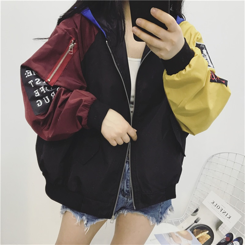 Coat Female 2019 Spring Autumn Women Contrast Short Jacket Long Sleeve Zipper Letter Jacket Korean Loose Patch Female Coat Tops