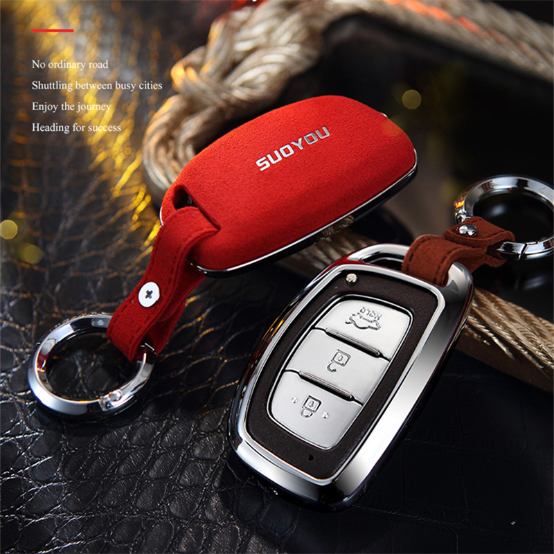 <font><b>2019</b></font> Suede Leather Zinc alloy Car Key Protection <font><b>Case</b></font> Cover <font><b>For</b></font> <font><b>Hyundai</b></font> Creta I10 I20 <font><b>Tucson</b></font> Elantra Santa Fe 2016 2017 2018 image
