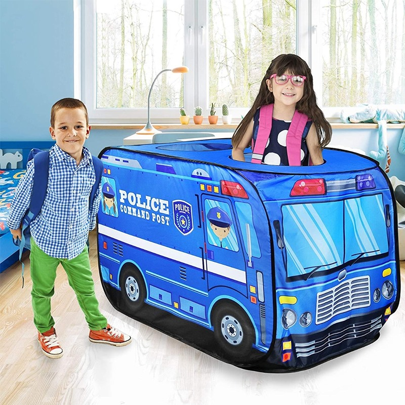 Children's Play Tent Firefighter Policemen Pretend Play Fire Truck/Police Car Design Kids Gamehouse Toy Hut Easy Fold Playhouse