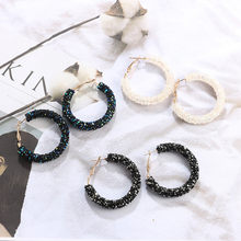 Circle Earrings Statement Rhinestone Drop Earrings Personality Shiny Crystal Hoop Earring All-match Geometric Big Round Ear Gift(China)