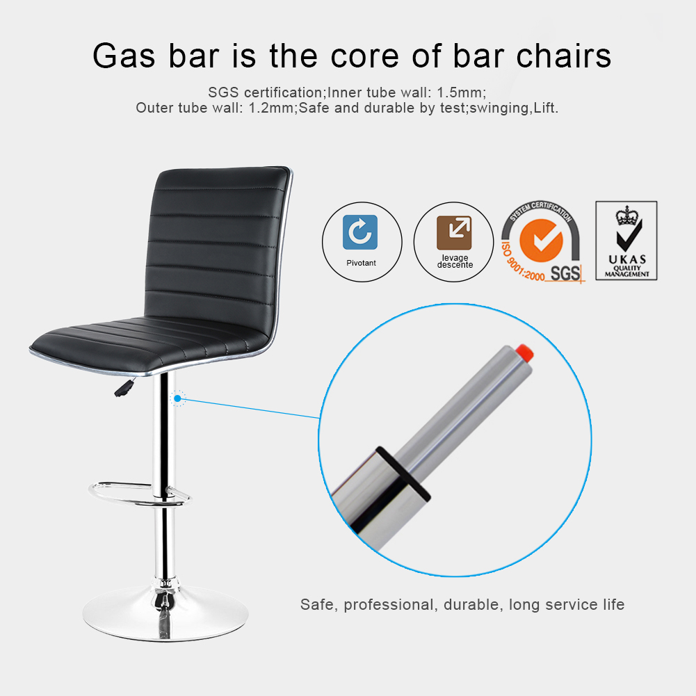 2pcs Fashion Adjustable Gas Lift Bar Stools Bar Chairs Modern PU Leather Hollow Backrest Kitchen Home Bar Furniture Chair HWC