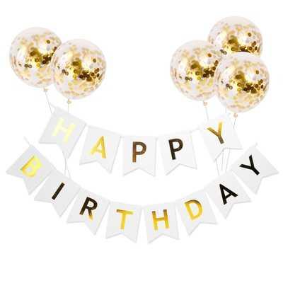 1 ชุดวันเกิด Happy Birthday Rose Gold Confetti บอลลูนอาบน้ำเด็กตกแต่งเด็กผู้หญิงเด็ก Party Favors