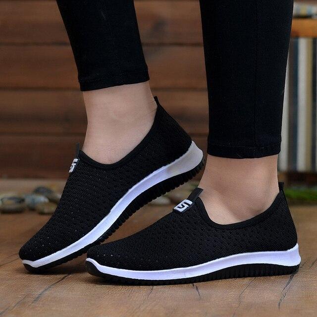 Zapatillas de deporte vulcanizadas 2020 para mujer, zapatos de malla para mujer, calzado informal antideslizante sólido y poco profundo, transpirables para mujer 4