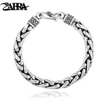 ZABRA Bracelet en argent Sterling 925 pour hommes, Vintage, maillons de blé, bijoux fait à la main, motard, cadeau, pour hommes