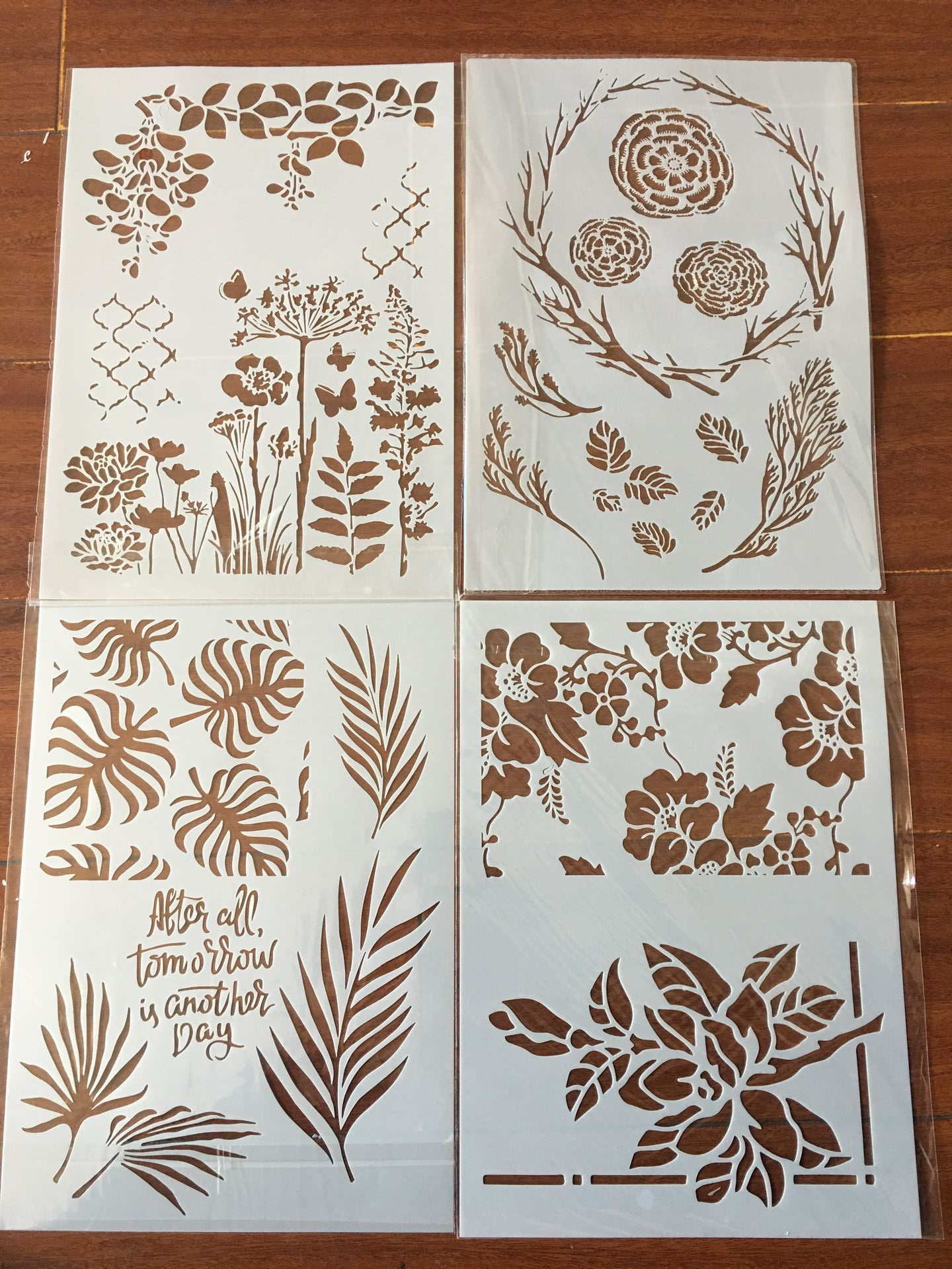 4pcs / Set A4 Flowers Leaves Seaweed Plant Stencils Painting Coloring Embossing Scrapbook Album Decorative Template