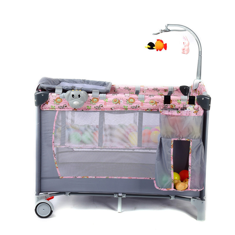 Deluxe Edition Portable Folding Crib Multifunction Baby BB Bed Splicing King Bed Cradle Bed Double Layer Baby Play Bed