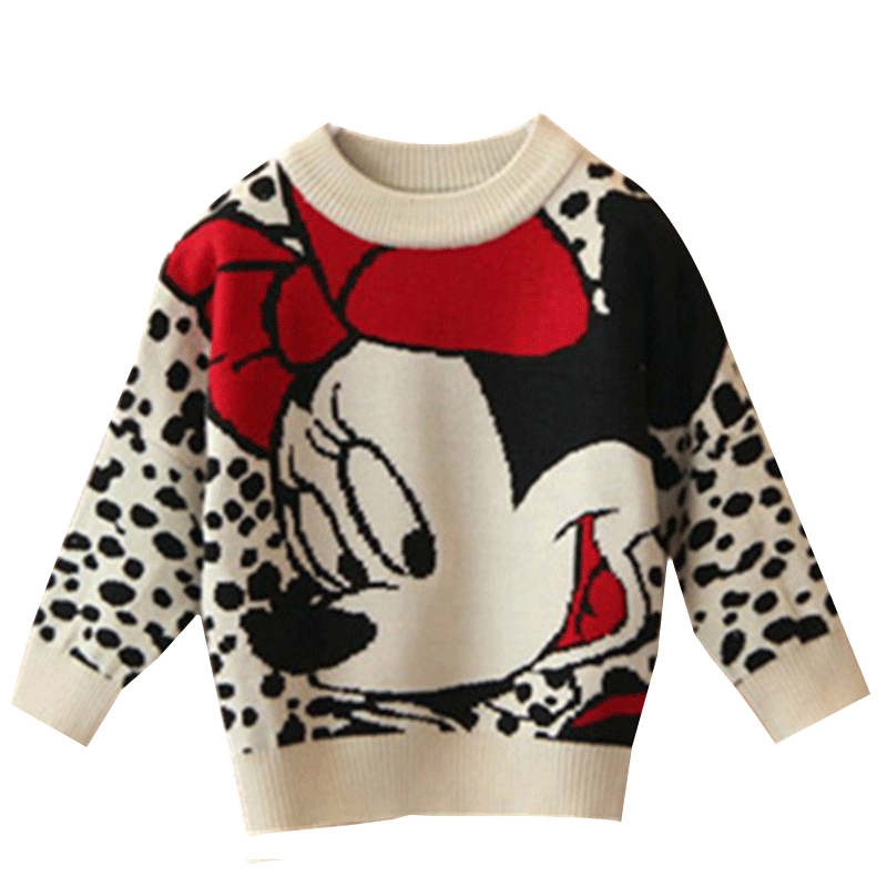 Minnie 2 4 6 8 Years Baby Girls Winter Autumn Cartoon Pullover Knit Sweaters Christmas New Year Costume Girls Sweaters Clothes