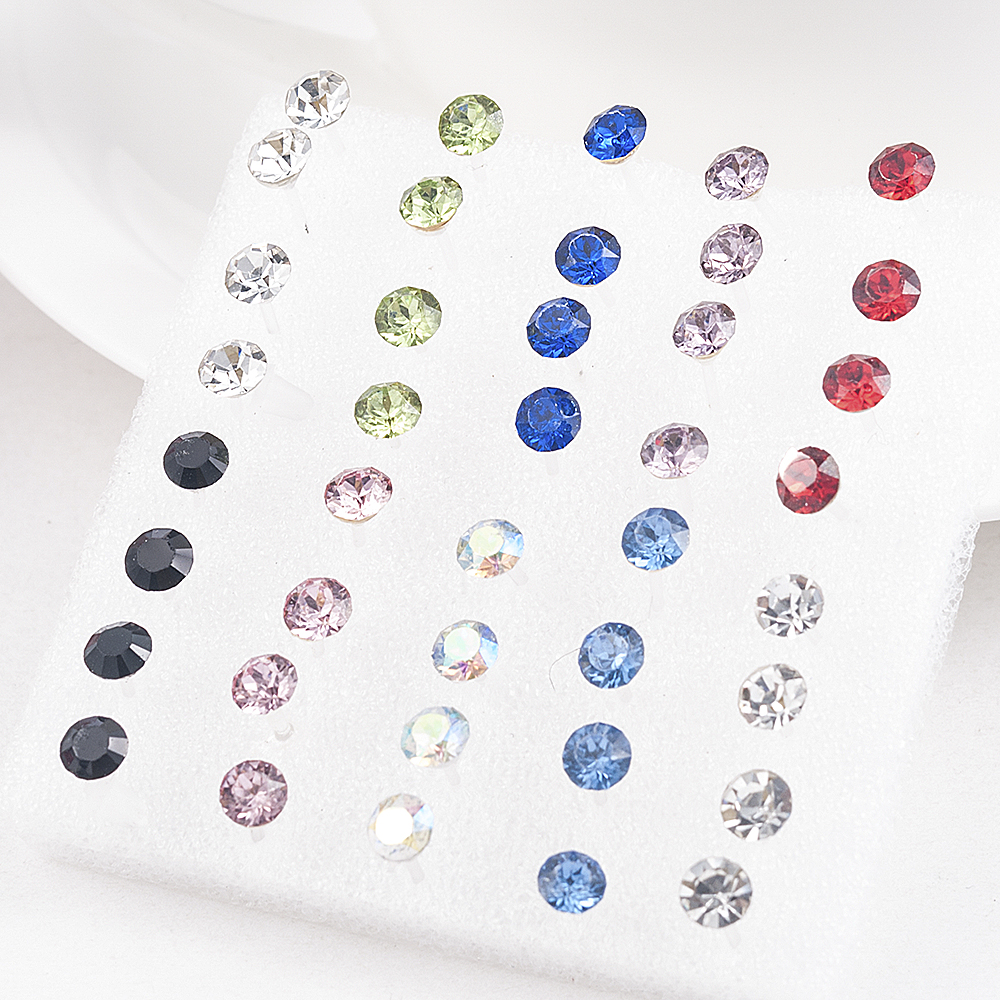20 Pairs/Set 2mm,3mm,4mm,5mm Fashion color white Crystal Prevent allergy Cute Ear Stud Earrings Women Jewelry festival Gift 1