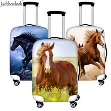 3D szalony nadruk z koniem torba na bagaż pokrywa elastyczna walizka arkusz czarny design z koniem pokrowiec na wózek pokrywa bagażu Box osłona pyłoszczelna tanie tanio jackherelook Poliester 80cm 200g Polyester+Spandex Klapy Bagażnika Akcesoria podróżnicze 30cm 60cm Animal prints Luggage Protective Cover Suitcase Tages