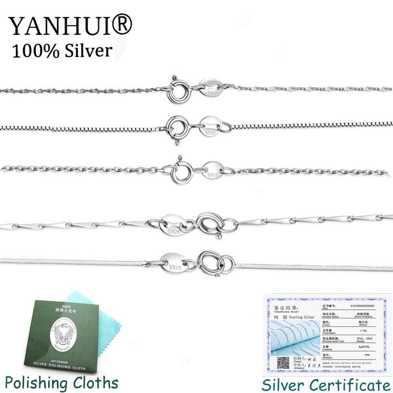 Sent Certificate Genuine Original 925 Silver Chain Necklace Fit for Pendant Fine Jewelry Basic Choker Necklaces Women Gift XL89 in Chain Necklaces from Jewelry Accessories
