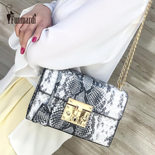 FUNMARDI Serpentine Lock Small Bags Women New Chain Shoulder Bags Ladies PU Leather Crossbody Bag Flap Famous Brand Bag WLHB2032 nucelle brand new design fashion cosmic rivets lock robot pu leather women lady shoulder crossbody flap bags gift for girl