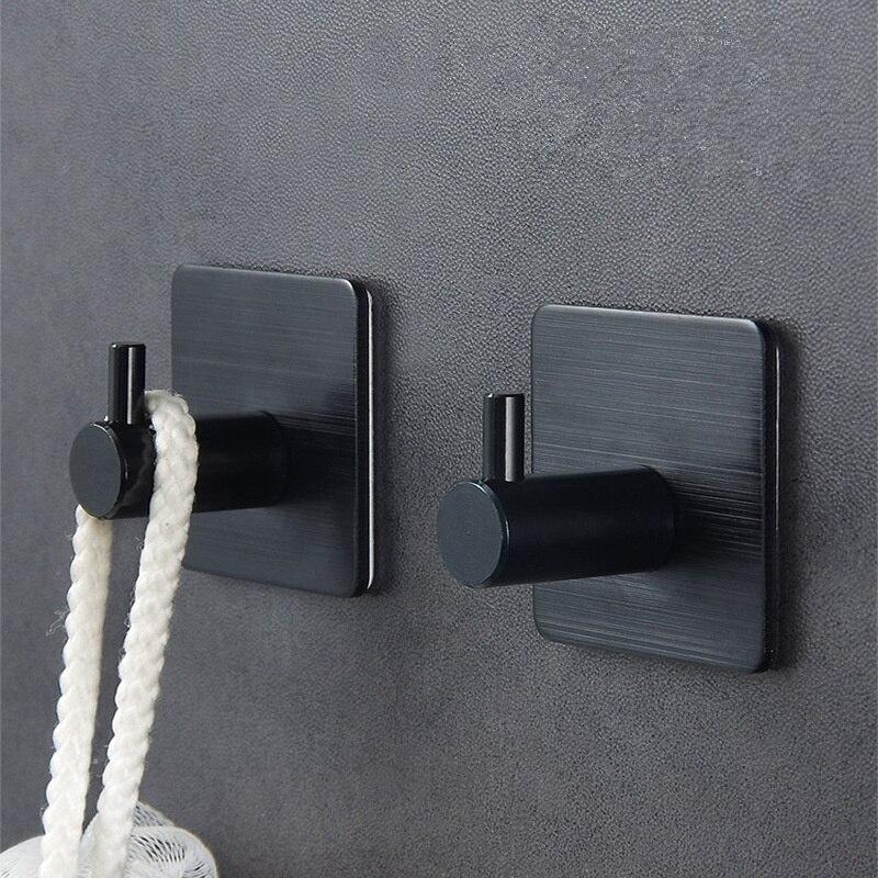 Клейкая алюминиевая вешалка для полотенец из сплава, семейные крючки для халата, подвесная сумка для шляп, семейная сумка для шляп, самоклеющаяся настенная вешалка для ключей - Цвет: Черный
